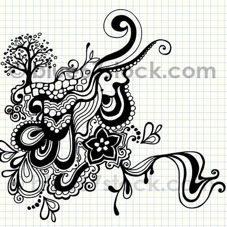 psychedelic tree and abstract doodles vector illustration free tree vector image free tree vector image