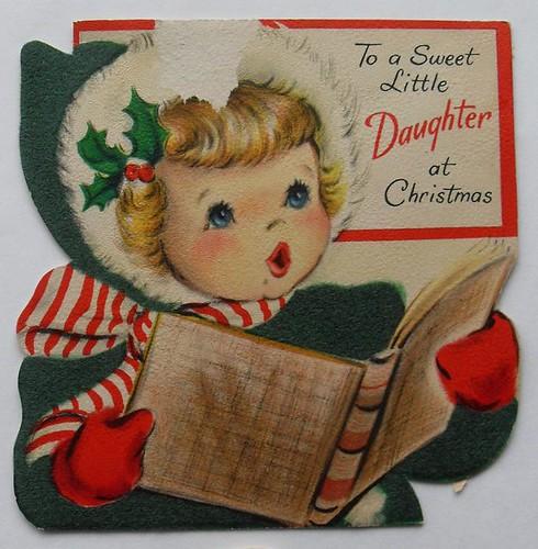 Vintage Wedding Card Unused Greeting Card 1960s 1950s: 1950s CHRISTMAS CARD Vintage Greeting Illustration Carolin