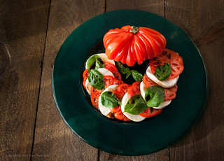 Mozzarella and Heritage Tomatoes with Basil | by FoodPhotoNYC