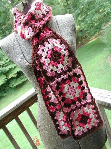 Free Crochet Granny Square Scarf Patterns : Bucksters Pink Granny Square Scarf Dawn Sparks Flickr