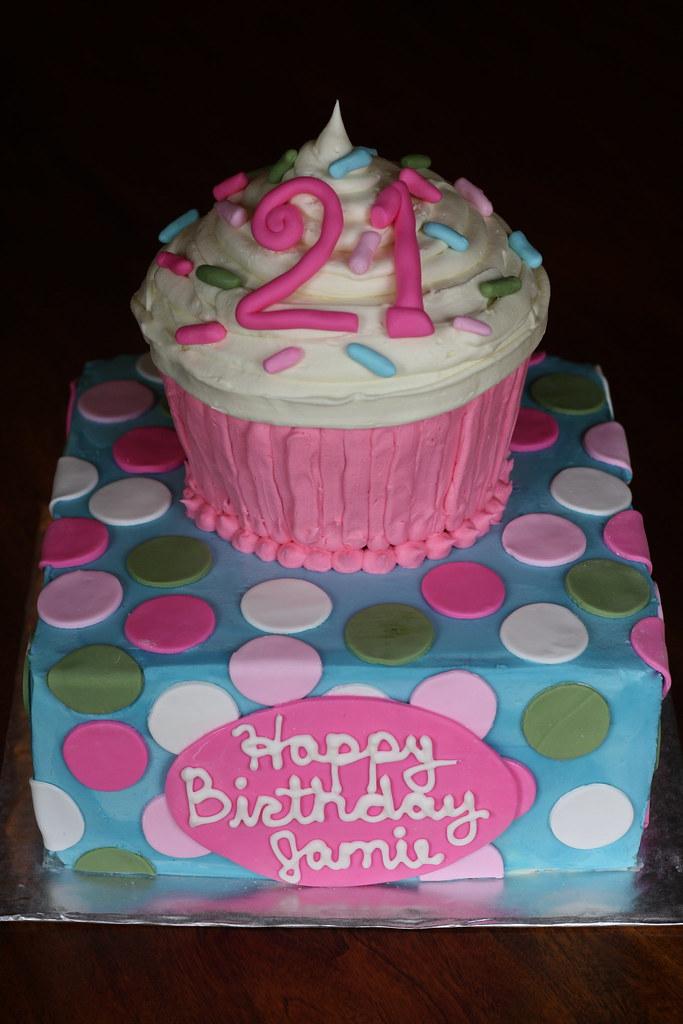 21st Birthday Cake! | A Red Velvet Cupcake Cake with White ...