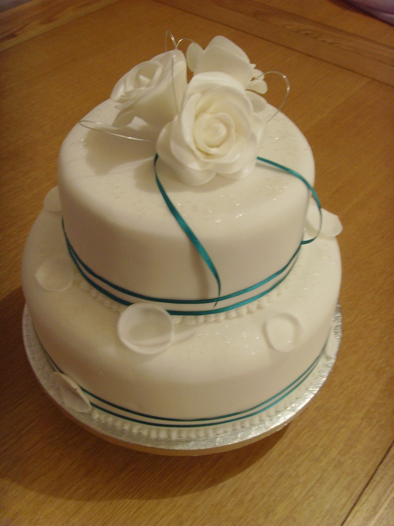 Tier Silver And White Wedding Cakes
