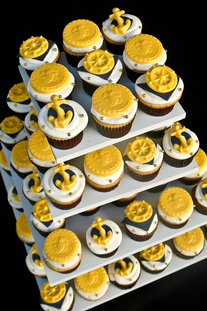 Navy Cupcake Tower | Cupcakes for a Navy retirement party ...