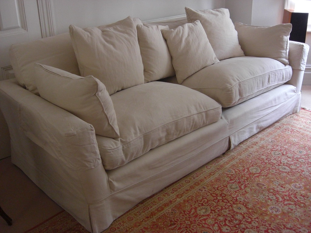 ... FOR SALE: Very Large Caruso Loose Covered White Two Piece Sofa Workshop  Sofa And Chair