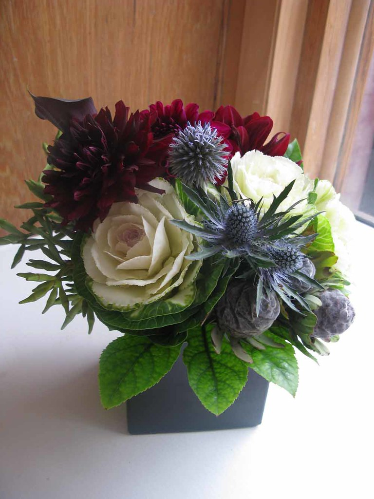 Centerpieces White Kale Blue Thistle Burgundy Dahlias