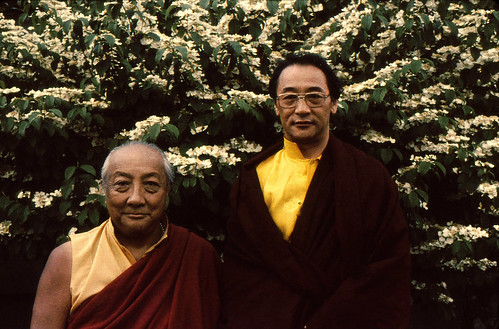 HH Dilgo Khyentse Rinpoche and HH Dagchen Sakya, in front of a white flowering tree, Seattle, Washington, USA | by Wonderlane