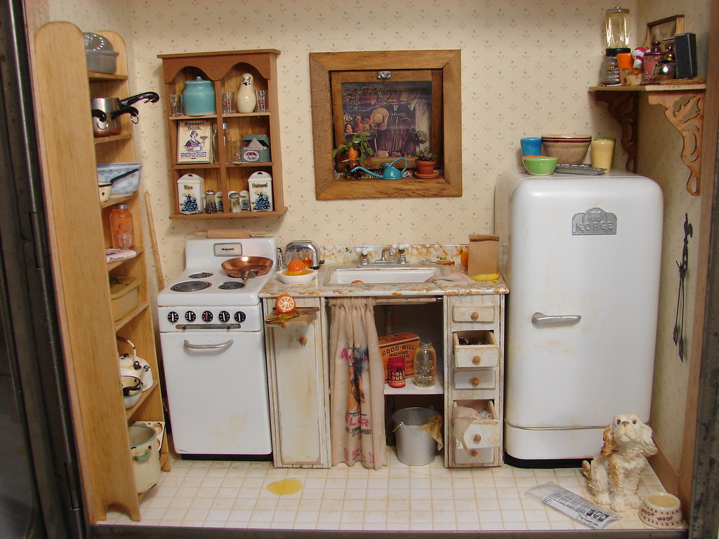 Uneeda bread kitchen scene 1 12 scale dollhouse miniature Miniature room boxes interior design