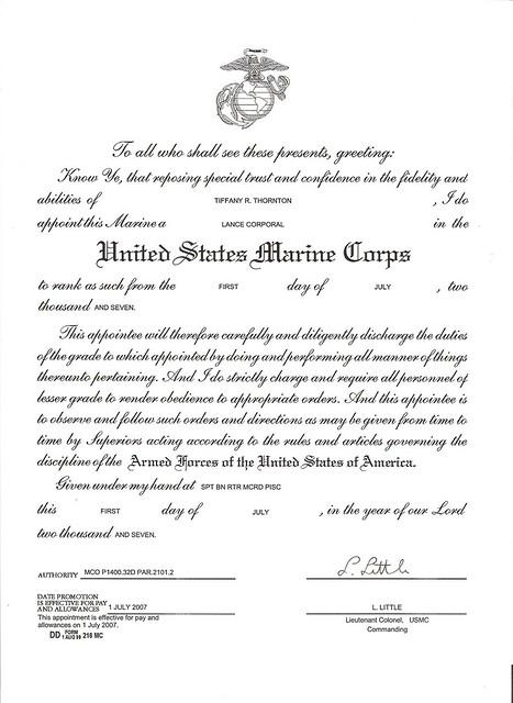 Usmc Lcpl Promotion Warrant For Thornton Tiffany R 001