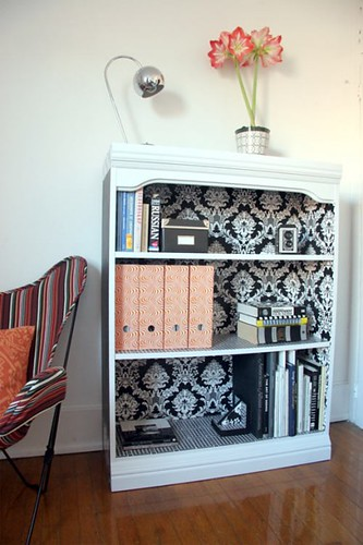 Wallpapered Bookcase | by justalittlebitnet