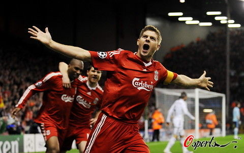 Steven Gerrard Celebrates Scoring 3rd GoalLiverpool 2008