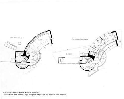 Curtis And Lillian Meyer House Plan 1951 Frank Lloyd Wr