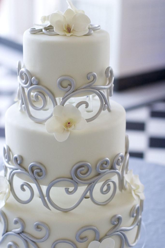 Ornate Swirls Wedding Cake