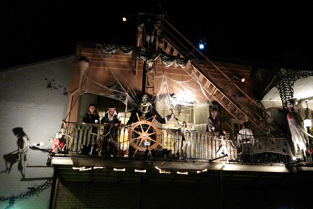 Pirate Ship Halloween Decorations In The French Quarter