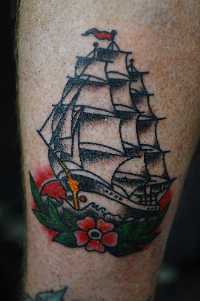 Shipwreak Traditonal Tattoo: Clipper Ship Traditional Tattoo By KeelHauled Mike Black A