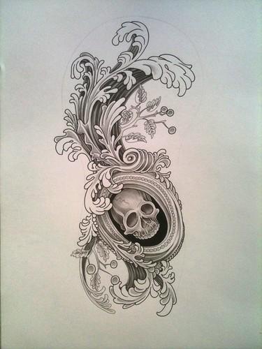 rokoko skull tattoo flash jeckylll flickr. Black Bedroom Furniture Sets. Home Design Ideas