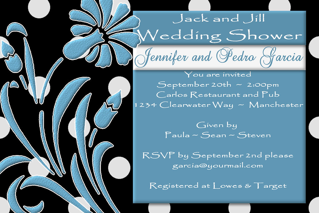 C64 Jack And Jill Black Shower Invitation Blue White Polk