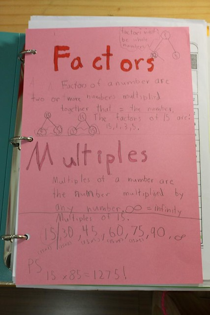 factors and multiples notebooking