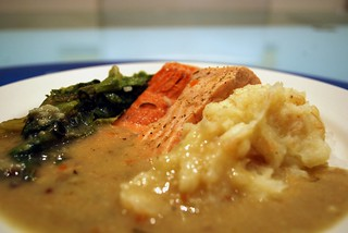 Poached Atlantic Salmon + Ocean Trout with parsnip mash, braised lettuce | by avlxyz