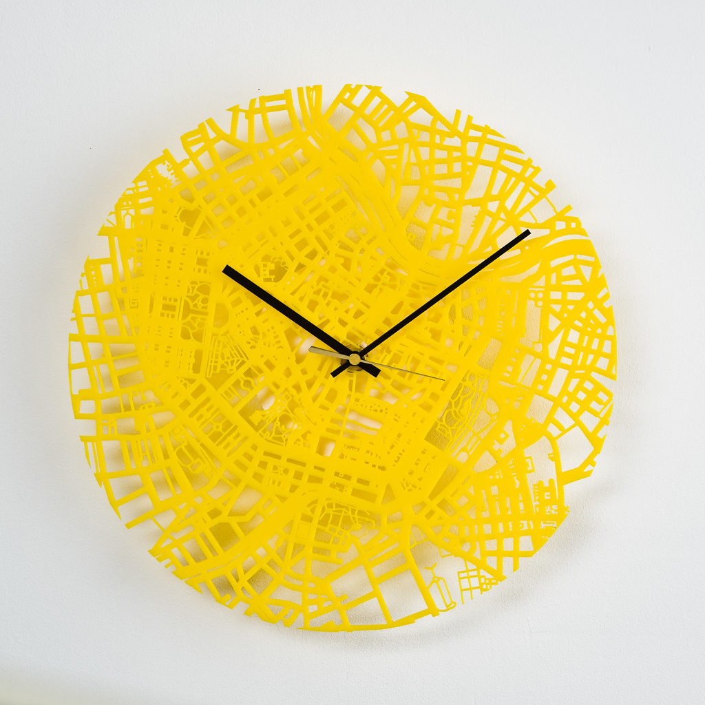 Streets Clock Acrylic Yellow