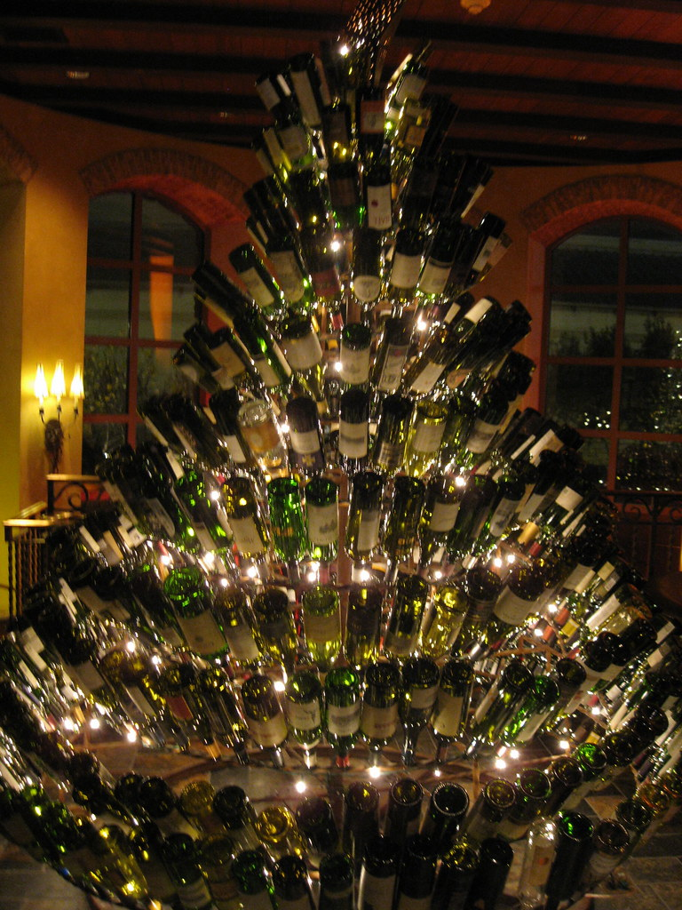 Wine bottle christmas tree at gaylord texan christmas 200 for How to make a wine tree