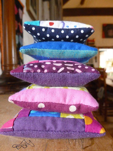 stack of mini cushions