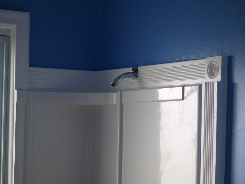 Shower surround | I put some trim molding around the window … | Flickr