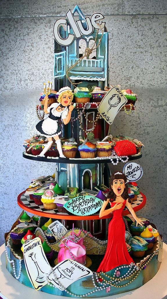 u0026 39 clue u0026 39  party cupcake tower