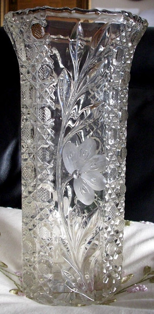 Antique Etched Cut Crystal Flower Pattern Donnaclassey