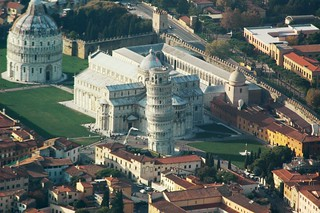 Aerial of the Field of Miracles and The Leaning Tower of Pisa | by Crumblin Down
