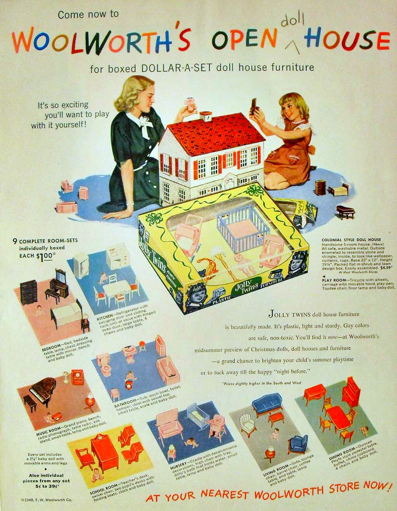 1948 woolworth s doll house 1940s vintage toy department i flickr Bottle Doll Project 1948 woolworth s doll house 1940s vintage toy department illustration f w woolworth advertisement by christian montone