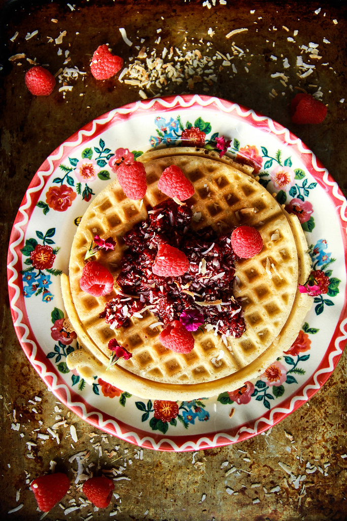 Coconut Waffles with Raspberry Sauce- Vegan and Gluten Free from HeatherChristo.com