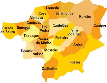 vieira do minho mapa Concelho de Vieira do Minho | Mapa das freguesias | Jorge Bastos  vieira do minho mapa