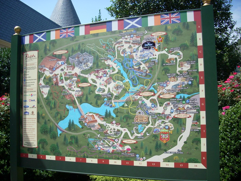 Busch Gardens Park Map A Park Map At The Busch Gardens