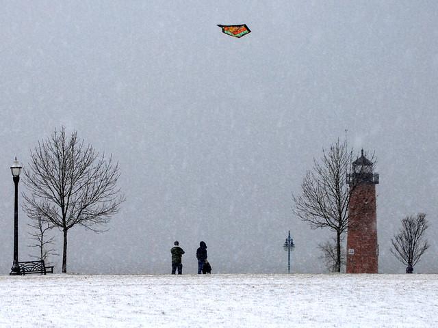 Winter Kite Flying In Kenosha Wi Over The North Pier