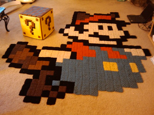 Question Mark Block Ottoman & Raccoon Mario Rug | by anenemyairship