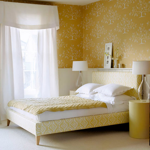 modern tree wallpaper lovely yellow white bedroom col
