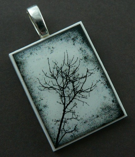 Black and White Grunge Tree Polymer Clay Photo Pendant | by ImaginativeIntention