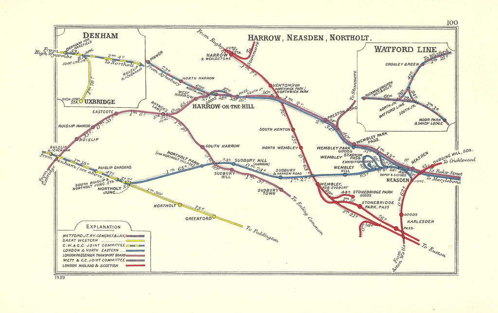 Railway Clearing House diagram north west London Harrow
