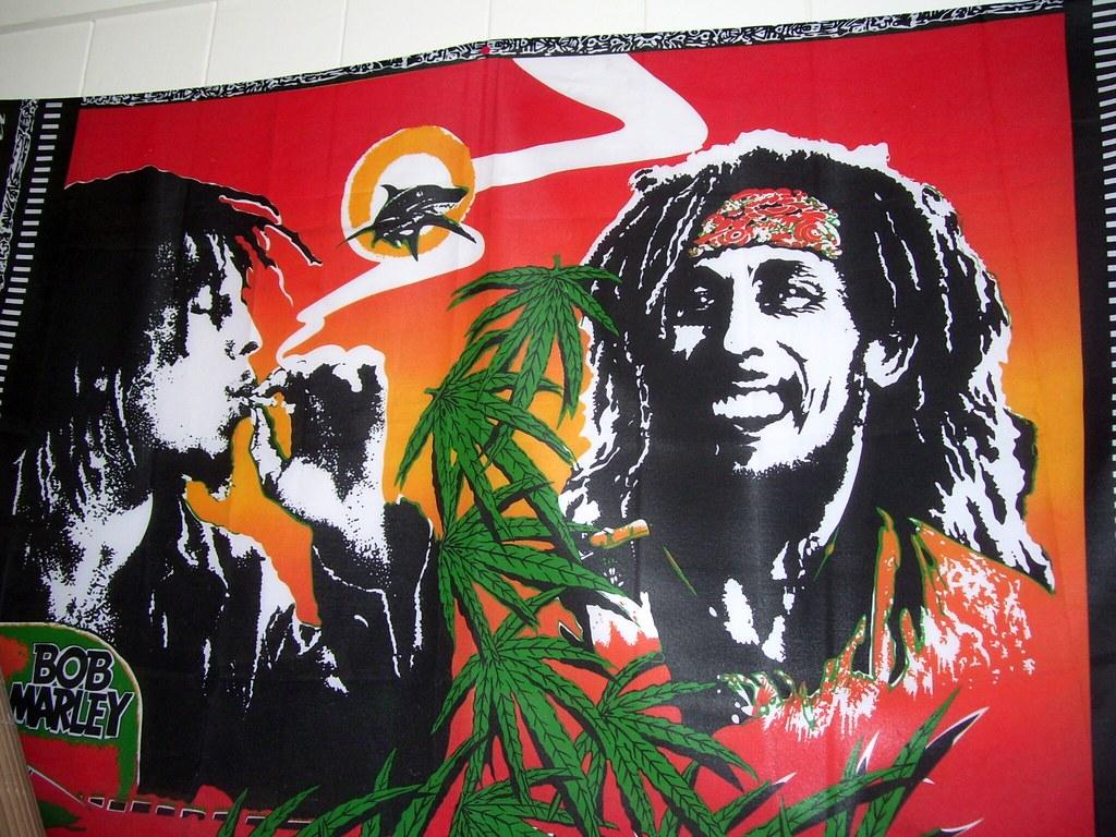 Bob Marley Smoking The Ganja Pakalolo Herb Cannabis Budz Grass Poster