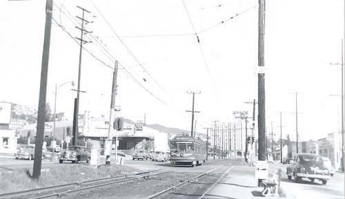 West Hollywood streetcar westbound on Santa Monica Boulevard at La Cienega, December 1952 bw CR | by Metro Transportation Library and Archive