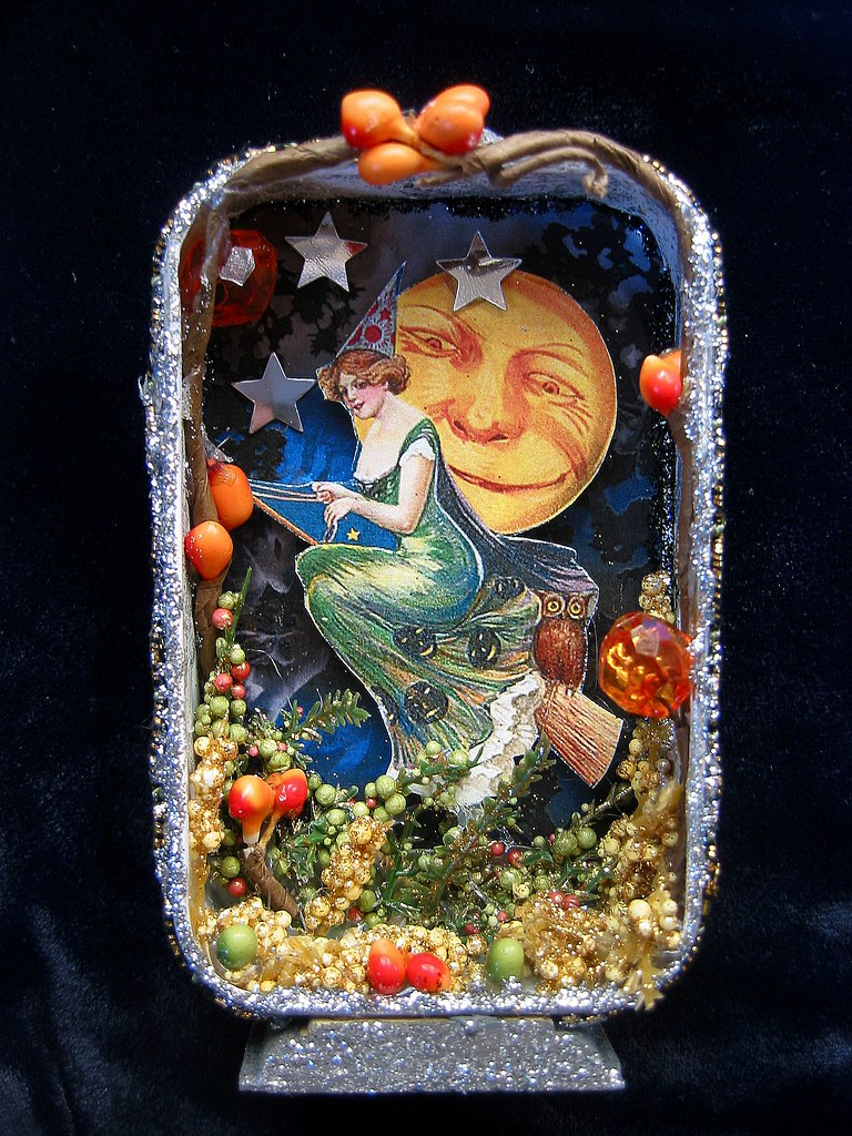 Vintage Witch Shadow Box Altered Altoid Tin Image Is