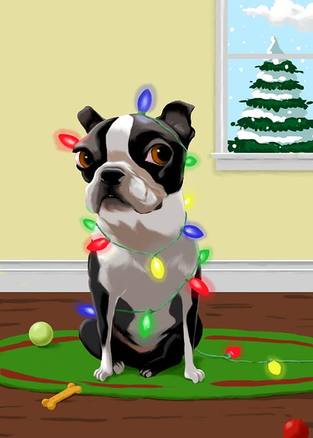 boston terrier christmas card by rubenacker