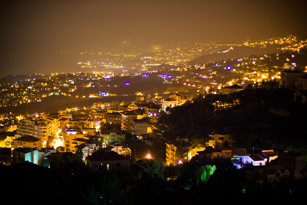 Beirut At Night Looking Down At The Capital City From