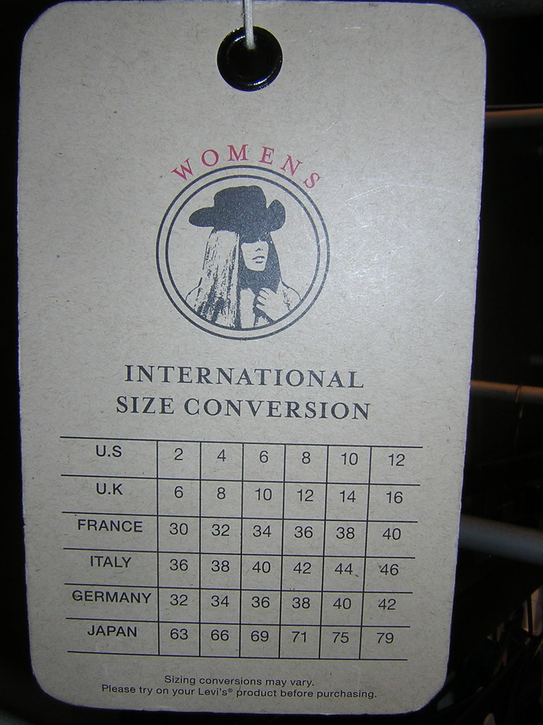 Levi's Jeans International Size Conversion Chart for Women… | Flickr
