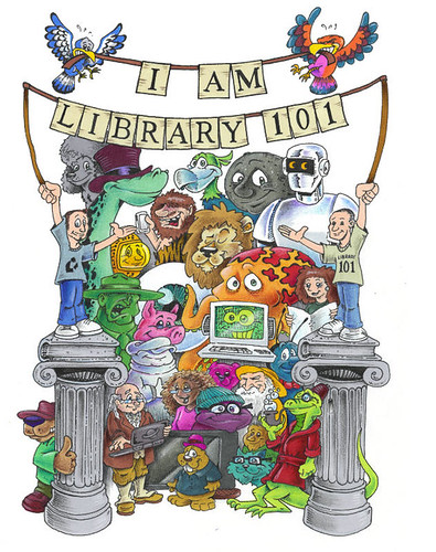 """Library 101"" Cartoon Shirt Design 