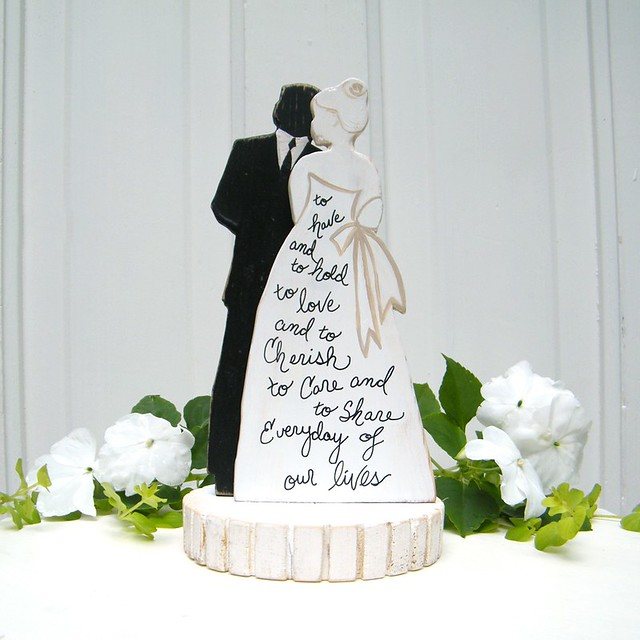 NEW Bride And Groom Silhouette Wedding Cake Topper