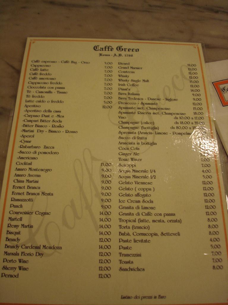 Cafe Greco Menu