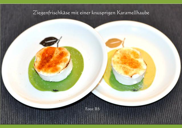 Ziegenkäse, Ziegenfrischkäse, karamellisiert ... Chèvre brûle, Crème brûlée ... karamelliesieren, knusprige Zuckerhaube, abgeflämmter Ei-Schnee ... Käse-Dessert ... Flambierbrenner, Butangas-Brenner, Creme brulee-Brenner ... Fotos: Brigitte Stolle, Mannheim