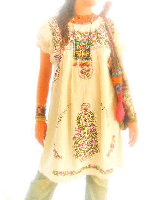2018 Hot Sale Free Shipping vintage 70s mexican Ethnic Floral EMBROIDERED  Hippie Blouse DRESS women clothing vestidos Free Sz-in Dresses from Women's  ...