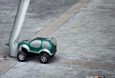 Duracell Battery Powered Car Hits Pole Credit To